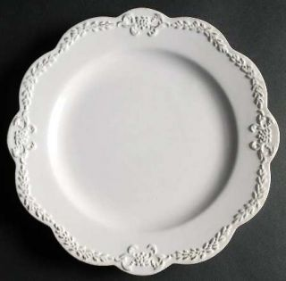 Simply Shabby Chic Chateau Salad Plate, Fine China Dinnerware   All White,Emboss