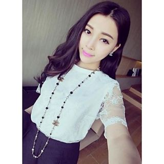 Womens Korean Style Aesthetic Temperament Lace Short Sleeve Shirts