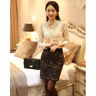 JFS Korea Sytle Womens Slim Fit Lace Long Sleeve Shirt