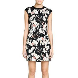 Calary Womens Floral Print Leather Split Joint Black Dress