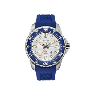 Bulova Marine Star Mens Blue Rubber Strap Automatic Watch