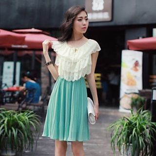 Womens Round Neck Pleated Chiffon Dress