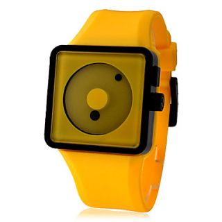 Unisex Creative Two Dot Dial Silicone Band Quartz Analog Wrist Watch (Yellow)