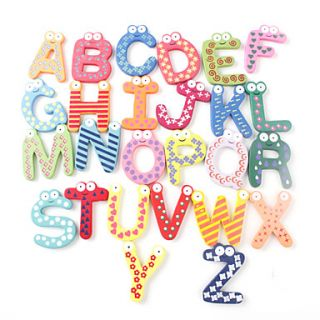 Funny Alphabet 26 Letters Wooden Fridge Magnets Educational Toy (26 Pack)