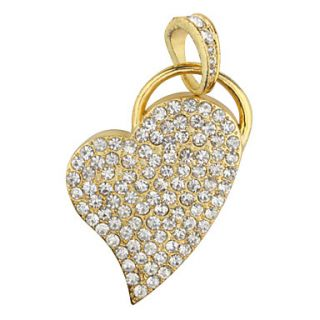 2GB Heart Shaped USB Flash Drive (Gold)