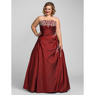 Plus Size Ball Gown Strapless Taffeta Evening/Prom Dress