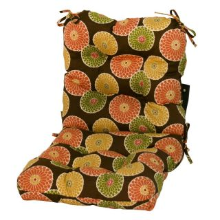 Greendale Home Fashions Outdoor Chair Cushion Flowers on Red   OC5815 FLOWERRED.