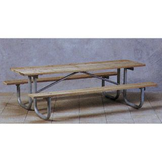 Paris Equipment Pine Picnic Table with Galvanized Frame Multicolor   PTH 6GP