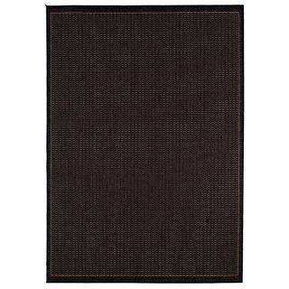 Couristan Recife Saddle Stitch Indoor/Outdoor Area Rug   Black/Cocoa