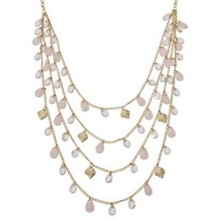 Womens Multi Strand Pink and Clear Teardrop Stone Front Long Necklace   Gold