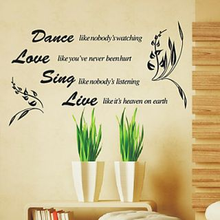 Dance Love Sing Live Words Wall Stickers