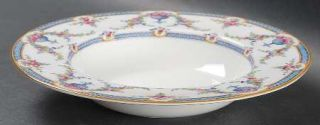 Royal Worcester Rosemary Sky Blue/White Rim Soup Bowl, Fine China Dinnerware   L