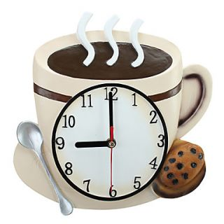9H Country Style Coffee Cup Type Wall Clock