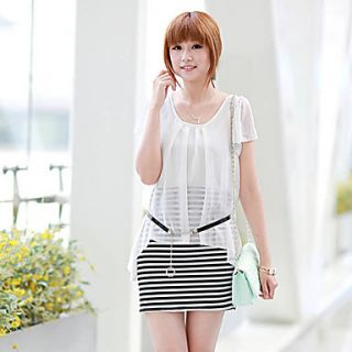 BeiYan Womens Korean Fashion Slim Splice Stripes Dress(White)