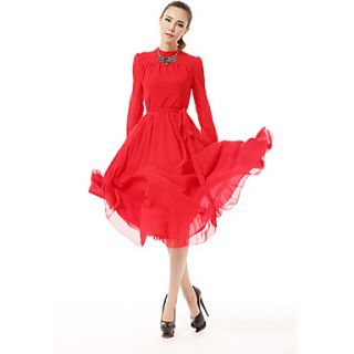 Color Party Womens Vintage Slim Fit Dress (Red)