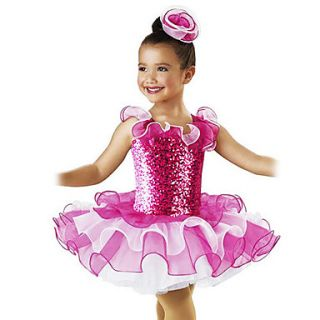 Amazing Kids Sequin Organza Ruffle Décor Ballet Dance Dress