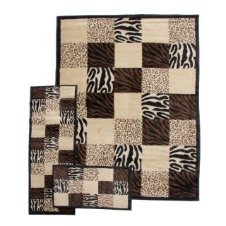 Ameritu Trading Inc Desire Black Area Rug   3 pc. Set   B0135