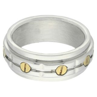 Stainless Steel Two Tone Mens Bolt Ring   Silver/Gold (Size 12)