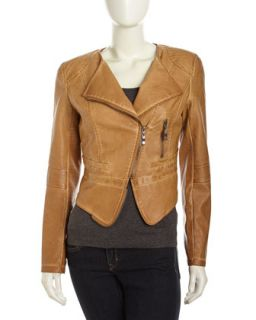 Faux Leather Zip Moto Jacket, Veg Tan