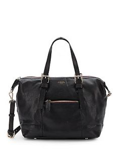 Top Zip Leather Satchel   Black