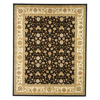 Lyndhurst Collection Traditional Polypropylene Black/ivory Rug (53 X 76)