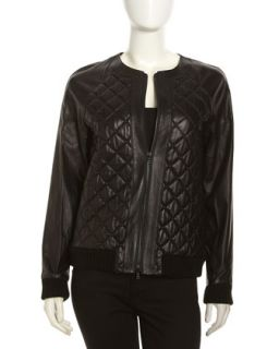 Quilted Leather Studded Bomber Jacket