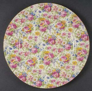 Royal Winton Summertime (Pre 1960,Cream Bck,Gold Tr) Dinner Plate, Fine China Di