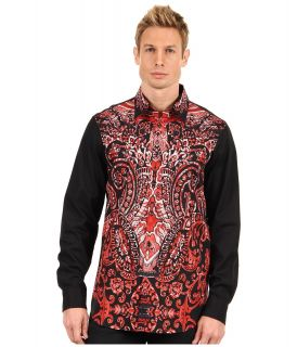 Just Cavalli Paisley Front Shirt Mens Long Sleeve Button Up (Red)