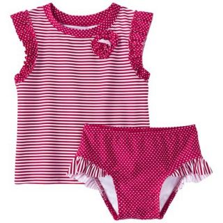 Circo Infant Toddler Girls Stripe Rashguard Set   4T