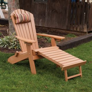A & L Furniture Recycled Plastic Folding Reclining Adirondack with Pullout