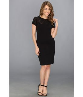 Nicole Miller Ponte Stretch Lace Dress Womens Dress (Black)