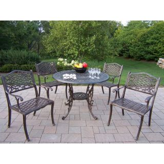 Oakland Living Mississippi Cast Aluminum 42 in. Patio Dining Set   Seats 4