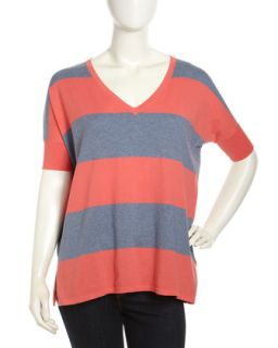 Pow Wow Striped Short Sleeve Sweater, Denim Blue/Pink Coral
