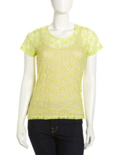 Embroidered Mesh Short Sleeve Top, Neon Yellow