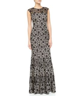 Floral Lace Panel Flared Gown, Nude/Black