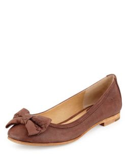Esther Bow Nubuck Leather Ballet Flat, Brown