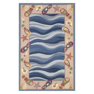KAS Rugs Colonial 1810 Fun in the Sun Area Rug   Blue   COL18102X8RU, 2 x 8 ft.