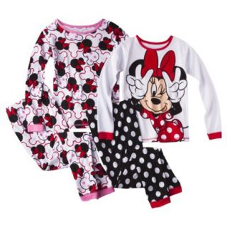 Disney Minnie Mouse Girls 4 Piece Long Sleeve Pajama Set   Red/White 10