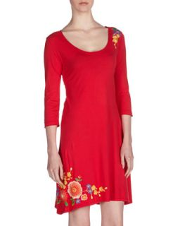 Floral Embroidered Swing Dress, Lipstick