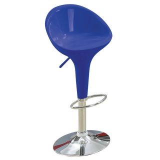 Sybill Adjustable Blue Chrome Finish Air Lift Stools (set Of 2) (Blue Materials ABS Seat and Back, MetalFinish Chrome Adjustable Air Lift StoolDimensions 36 inches high x 18.5 inches wide x 20 inches deep )