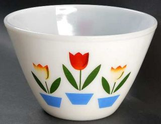 Anchor Hocking Tulips On White Splash Proof 8 Mixing Bowl   Fire King, White, T