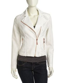 Perforated Vegan Leather Moto Jacket, White